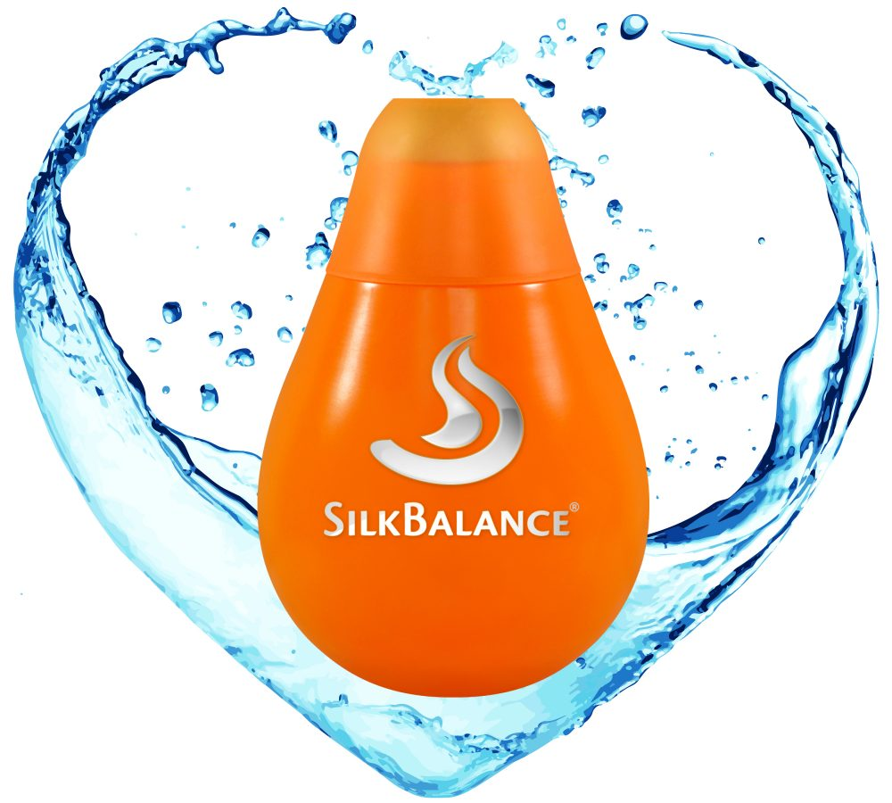 SilkBalance bottle in water heart
