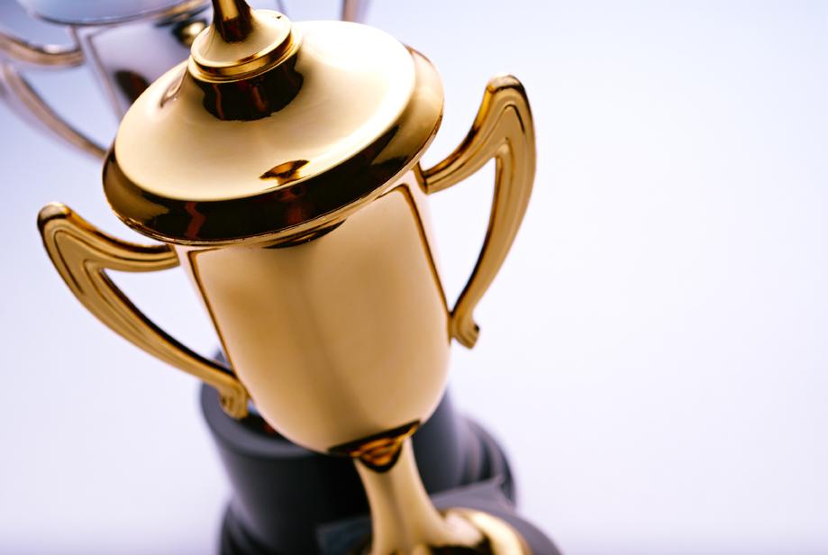 Shiny gold trophy award