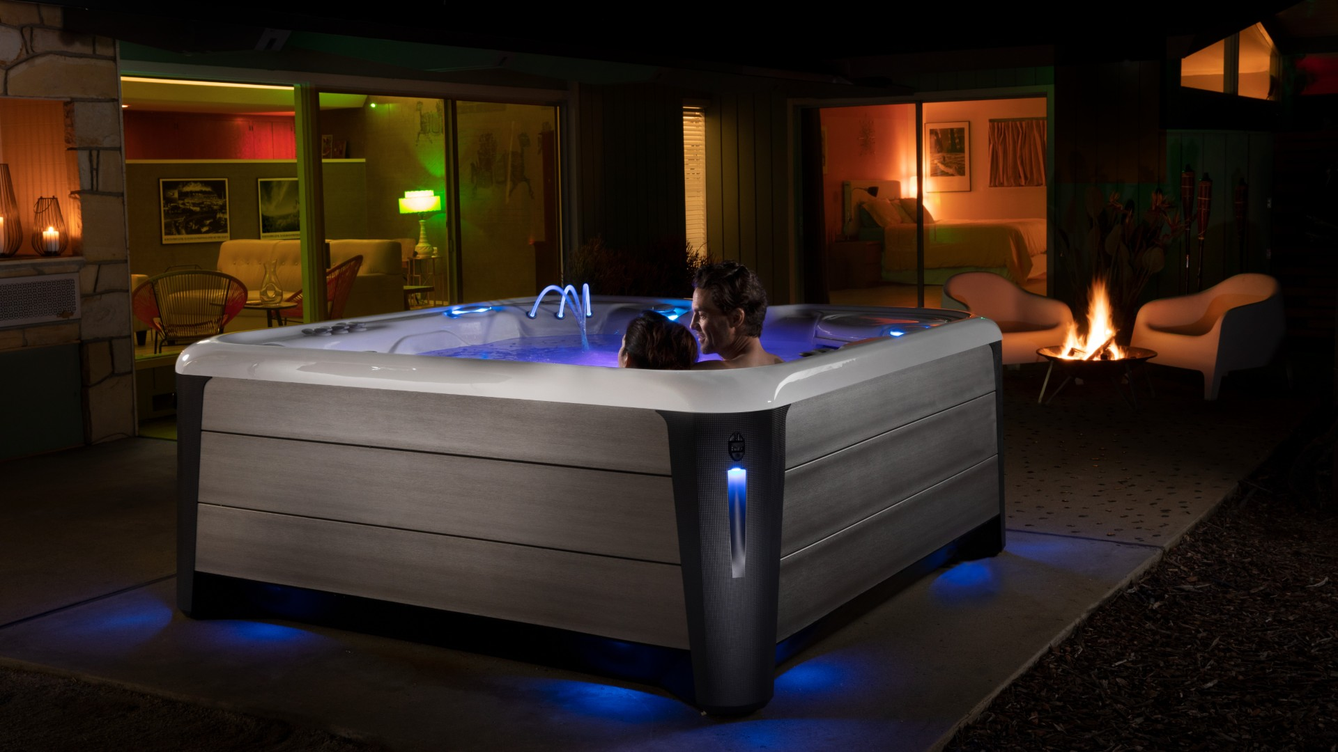 "Do you wonder ""What accessories are available for my hot tub?"" This couple is enjoying their HotSpring® accessories."