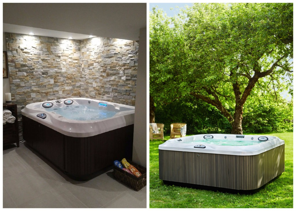 A Jacuzzi® hot tub on the left, placed indoor. A Jacuzzi® hot tub on the right, placed outdoors.