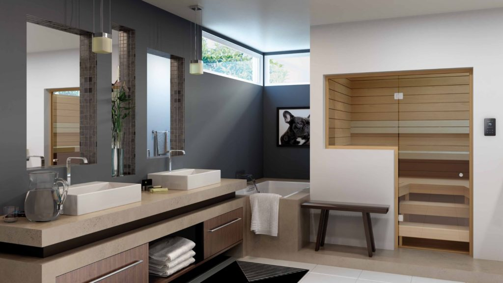 a custom-cut sauna in a bathroom. Location is one of 4 things to consider before you design a custom-cut sauna.